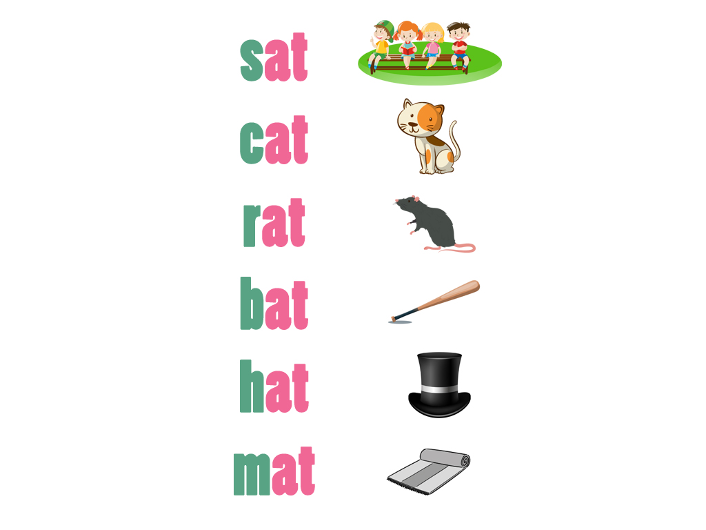 Help kids learn phonics by recognizing words that end the same