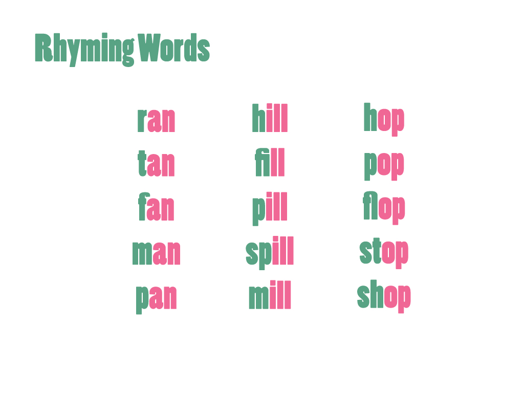 Help kids learn phonics by writing lists of rhyming words