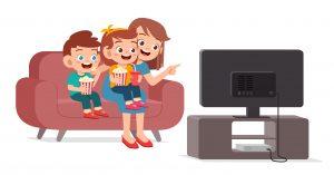 Kids and parent watching cartoons together